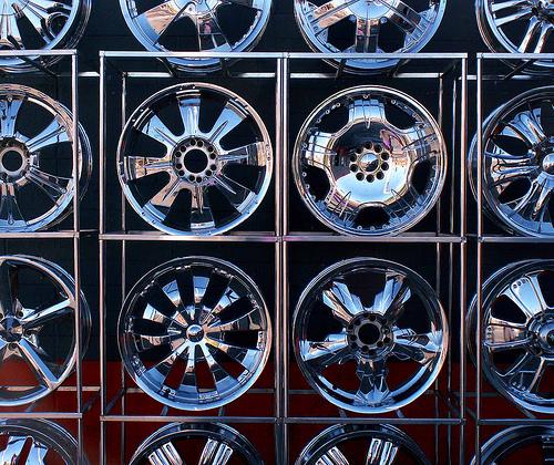 Chrome plated car wheels.