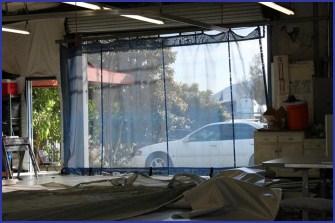 A mesh industrial curtain.